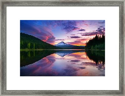 Trillium Lake Sunrise Framed Print by Darren  White