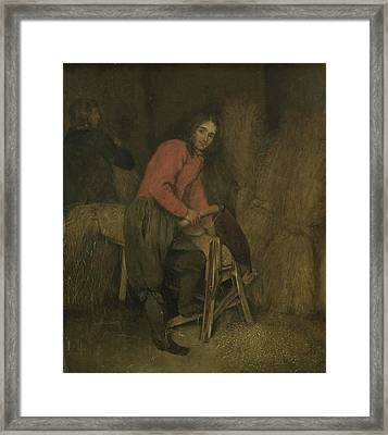 Trimming Bales Of Hay, Attributed To Caspar Netscher Framed Print by Litz Collection