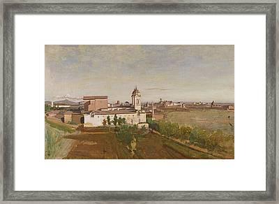 Trinita Dei Monti From The Villa Medici Framed Print by Jean Baptiste Camille Corot