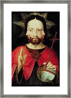 Trinitarian Christ, C.1500 Oil On Panel Framed Print by Flemish School