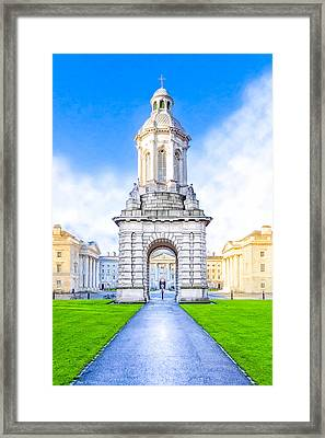 Framed Print featuring the photograph Trinity College Campanille - Dublin Ireland by Mark E Tisdale