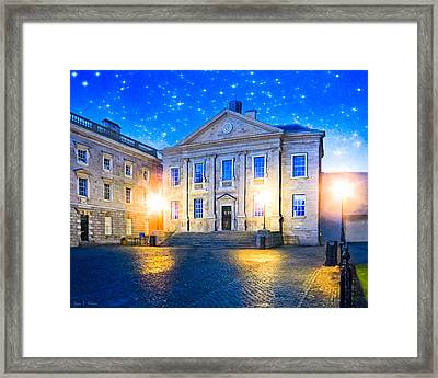 Trinity College Dining Hall At Night Framed Print by Mark E Tisdale