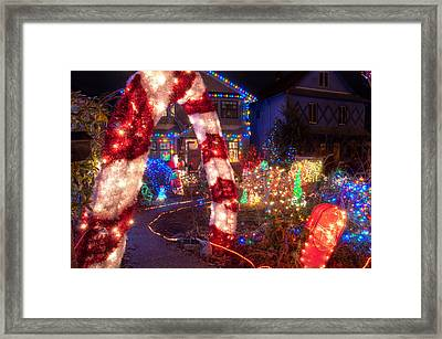 Trinity Street Christmas Lights Framed Print