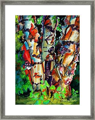 Framed Print featuring the painting Trio Birch 2014 by Kathy Braud