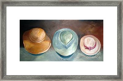 Framed Print featuring the painting Trio Of Hats - Original Sold by Therese Alcorn