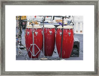 Trio Of Red Conga Drums Framed Print by JPLDesigns