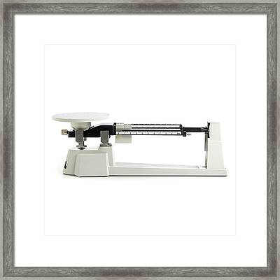 Triple Beam Balance Scales Framed Print by Science Photo Library