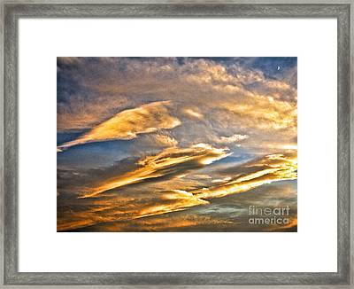 Triple Cloud And Crescent In Nevada Framed Print by Phyllis Kaltenbach