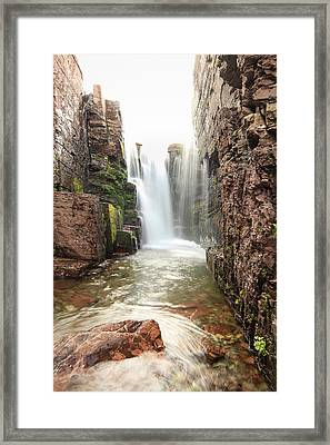 Triple Fall's Depth // Glacier National Park Framed Print by Nicholas Parker