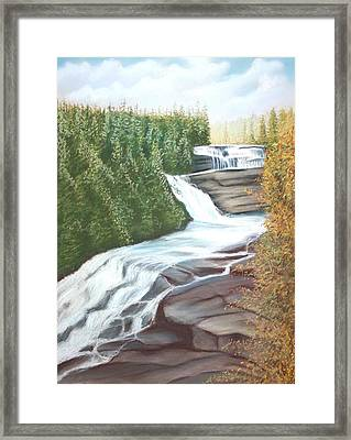 Framed Print featuring the pastel Triple Falls by Stacy C Bottoms