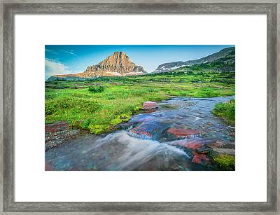 Triple Falls Stream Glacier National Park Painted  Framed Print by Rich Franco