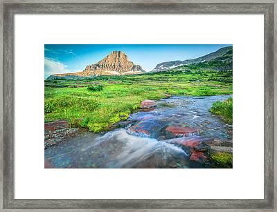 Triple Falls Stream Glacier National Park Framed Print by Rich Franco