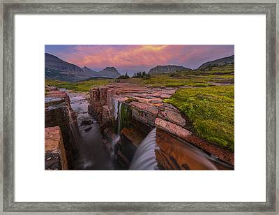 Triple Falls Sunset Framed Print