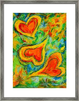 Triple Hearts Framed Print by Kelly Athena