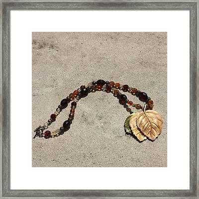 Triple Leaf Costume Brooch Pendant Necklace 3637 Framed Print