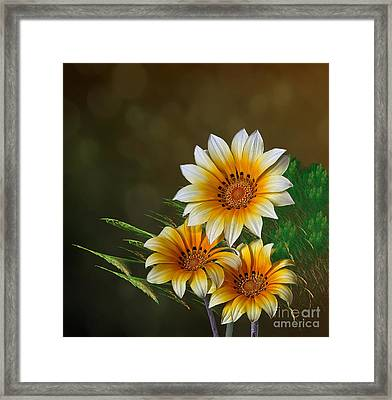 Framed Print featuring the digital art Triple Sunshine by Shirley Mangini