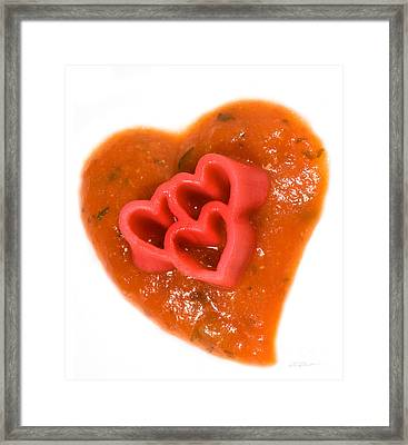 Tripple Red Pasta Hearts On Tomato Sauce Framed Print by Iris Richardson