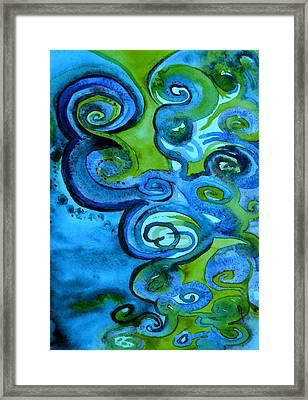 Trippy Blue Erebor Framed Print by Beverley Harper Tinsley