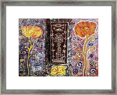 Triptih House In The Flowers Framed Print