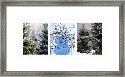 Triptych - Christmas Trees And Snowman - Featured 3 Framed Print by Alexander Senin