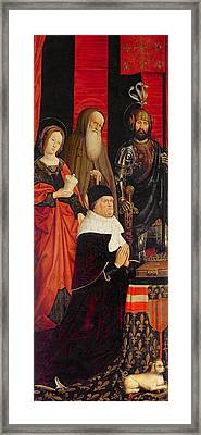 Triptych Of Moses And The Burning Bush, Left Panel Depicting Rene I Danjou 1409-80 With Mary Framed Print by Nicolas Froment