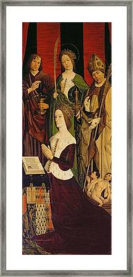 Triptych Of Moses And The Burning Bush, Right Panel Depicting Jeanne De Laval D.1498 With St. John Framed Print by Nicolas Froment