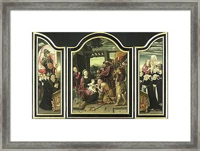 Triptych With Adoration Of The Magi, Manner Framed Print