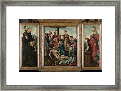 Triptych With The Lamentation Of Christ Center Framed Print by Litz Collection