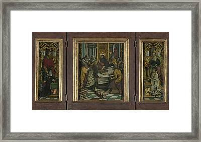 Triptych With The Last Supper And Donors Framed Print