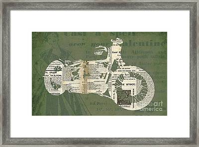 Triumph Boneville Cafe Racer Newspaper Cut Framed Print