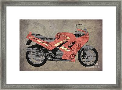 Triumph Daytona 1000 1992 And Red News, Man Cave Decoration Framed Print