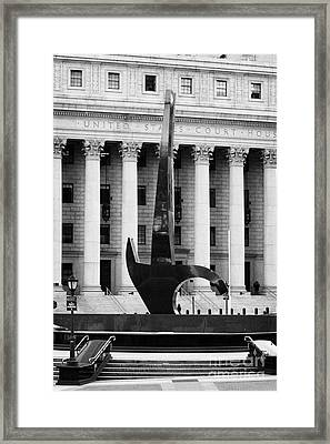 Triumph Of The Human Spirit Black Granite Sculpture By Lorenzo Pace Foley Square New York City Framed Print