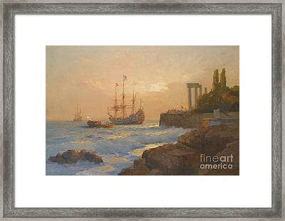 Triumphant Ship Approaching The Harbour Framed Print