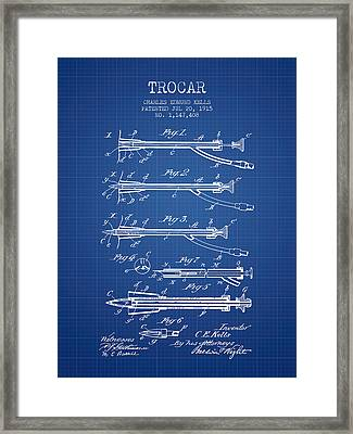 Trocar Patent From 1915 - Blueprint Framed Print