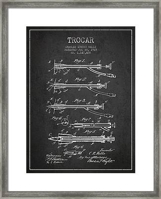 Trocar Patent From 1915 - Charcoal Framed Print