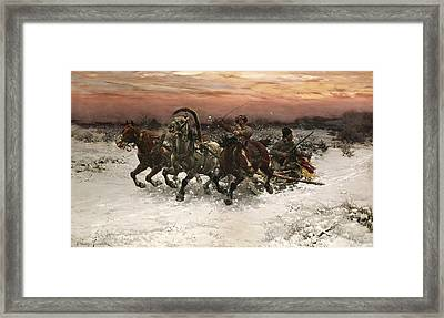 Troika Perused By Wolves Framed Print by Alfred Wierusz Kowalski