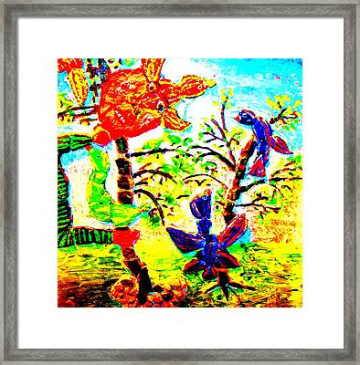 Nice Birds Are Coming But The Evil Troll Is Defending His Trees  Framed Print