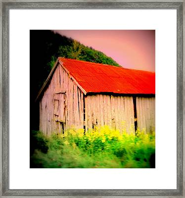 The Walls May Fall Down But Nothing Wrong Will Ever Happen Under My New Red Roof  Framed Print by Hilde Widerberg