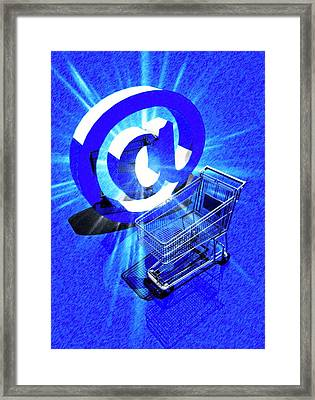 Trolley And At Sign Framed Print