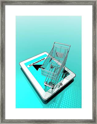 Trolley And Digital Tablet Framed Print