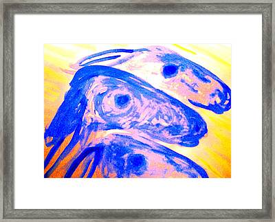 Trolls Herd Running But They Dont Know Where And They Dont Know Why   Framed Print by Hilde Widerberg