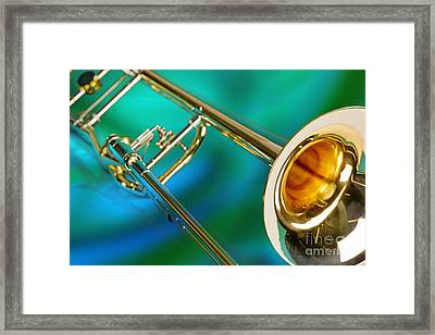 Trombone Against Green And Blue In Color 3204.02 Framed Print