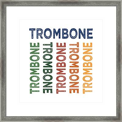 Trombone Cute Colorful Framed Print by Flo Karp