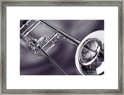 Trombone In Black And White Sepia Color 3204.01 Framed Print by M K  Miller