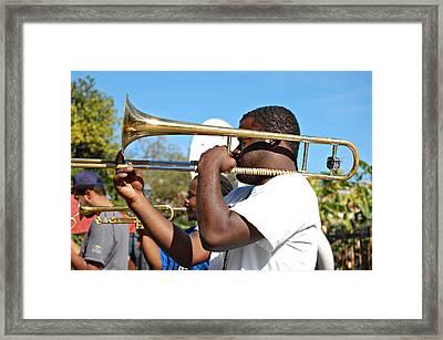 Trombone Man Framed Print by Steve Harrington
