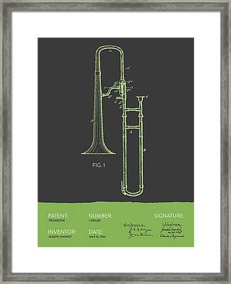 Trombone Patent From 1902 - Modern Gray Green Framed Print