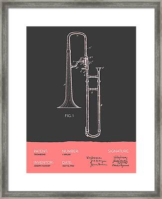 Trombone Patent From 1902 - Modern Gray Salmon Framed Print
