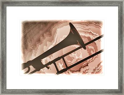 Trombone Silhouette Painting In Color 3206.02 Framed Print by M K  Miller