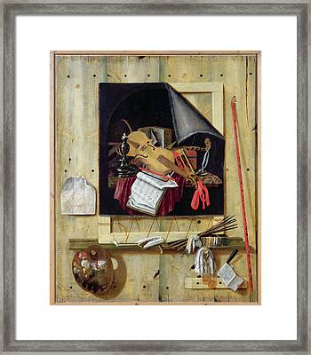 Trompe Loeil Still Life, 1665 Oil On Canvas Framed Print by Cornelis Norbertus Gysbrechts