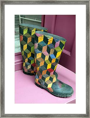 Trompe Loeil Wellington Boots Framed Print by Ros Drinkwater